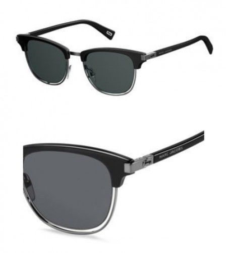 Marc Jacobs Metal Browline Sunglasses 50 0284 Black Ruthenium IR gray blue lens