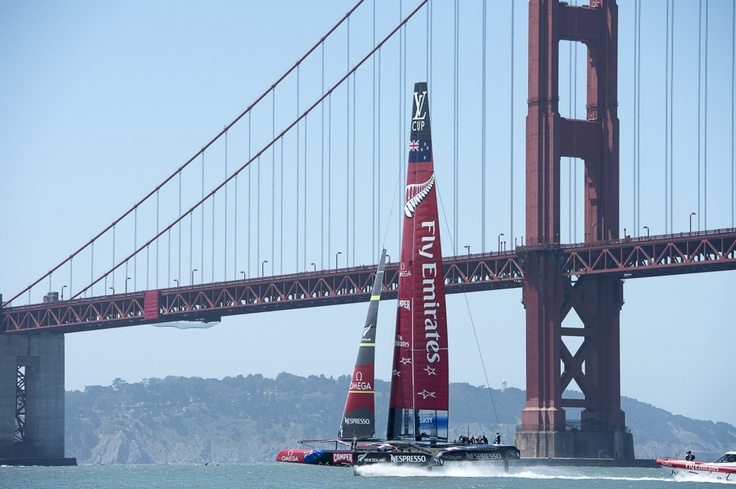 Emirates Team New Zealand AC72, NZL5 on the bay in San Francisco. 23/5/2013