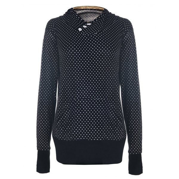 Chic Hooded Long Sleeve Pocket Design Polka Dot Women's Hoodie — 20.85 € Size: XL Color: BLACK