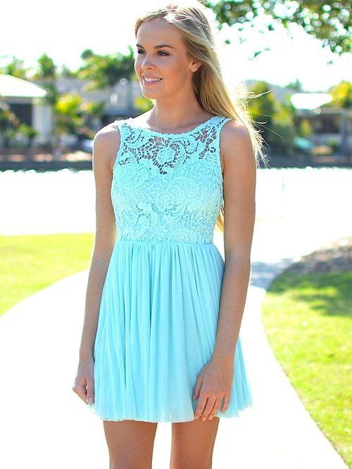 Soooo pretty!  light aqua lace dress