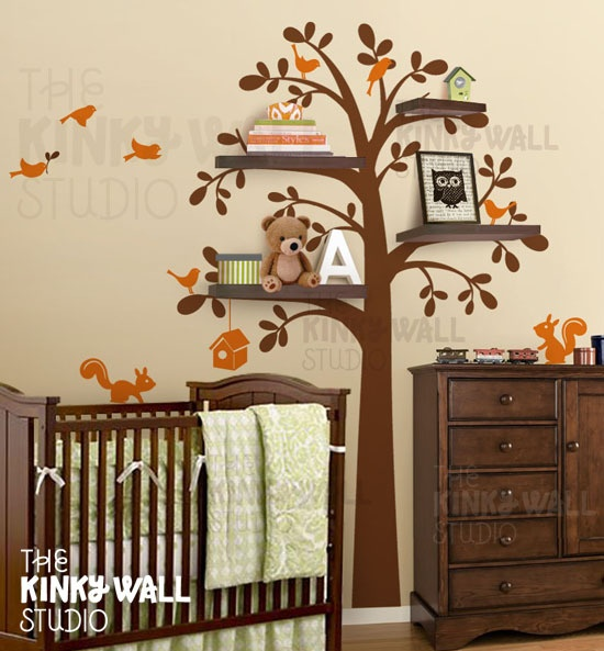New shelf tree with birds squirrels vinyl sticker wall for Kitchen cabinets lowes with kids vinyl wall art