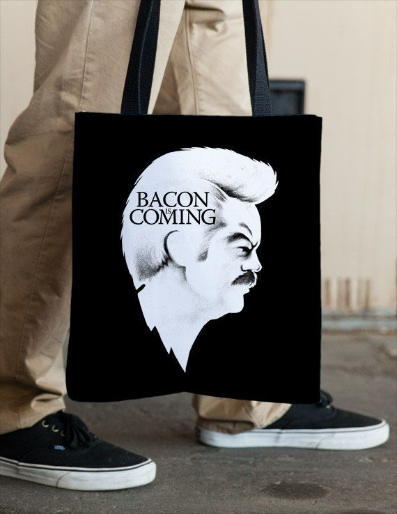 Winter is Coming Game of Thrones Ron Swanson Bacon Tote by Vincent Carrozza