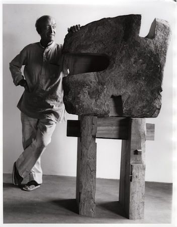 """""""Happy 110th birthday, Isamu Noguchi! Photograph of Noguchi with his sculpture The Inner Stone, 1980  The Noguchi Museum Archive """""""