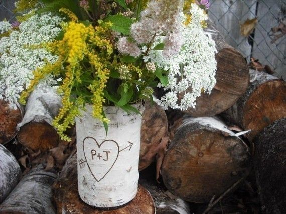 "One word: centerpieces. Tuck some tiny wedding-color flowers and succulents around the base, and have a tea light candle glowing softly inside? Please, gorgeous.    ""Life of a Vintage Lover: Birch Bark DIY"""