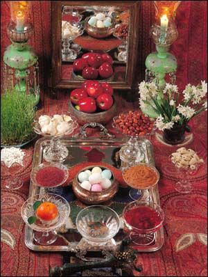"""Sample of a Haft-seen, the traditional display of seven things beginning with the letter """"s"""" - part of the Persian New Year (No-Rooz) celebration."""