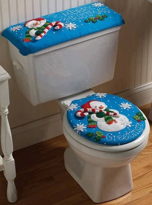 Juego para baño navideño en azul hortensia con muñeco de nieve.