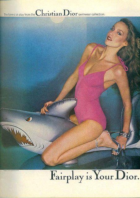 Jerry Hall. Late 70's Dior Ad. via Robin Baker