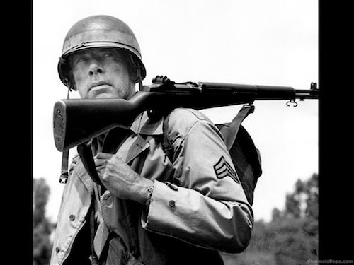 "Lee Marvin left school to join the Marine Corps, serving as a Scout Sniper in the South Pacific. Wounded during the Battle of Saipan where most of his platoon was killed. Wounded by machine gun fire, severing his sciatic nerve, he was awarded the Purple Heart medal and given a medical discharge. Marvin died of a heart attack in 1987 and was buried at Arlington National Cemetery. His headstone reads ""Lee Marvin, PFC US Marine Corps, World War II"". Once a Marine, always a Marine."