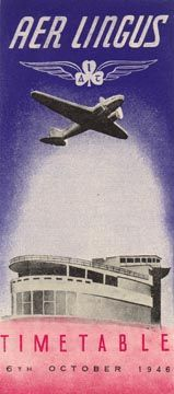 Aer Lingus - Aerlinte Eireann timetable from 1946 showing a detail from Dublin Airport.