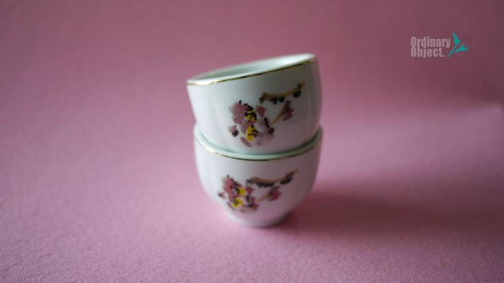 Vintage 'Milyang bonechina' porcelain with Plum Blossom & gold ring, Korean Traditional shot glasses, 2ps Set by VTGOrdinaryObject on Etsy