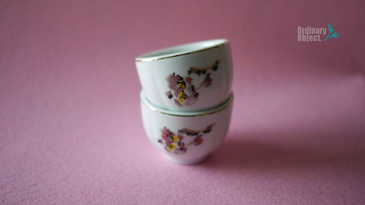 Vintage 'Milyang bonechina' porcelain with Plum Blossom & gold ring, Korean Traditional shot glasses, 2ps Set by VTGOrdinaryObject on Etsy