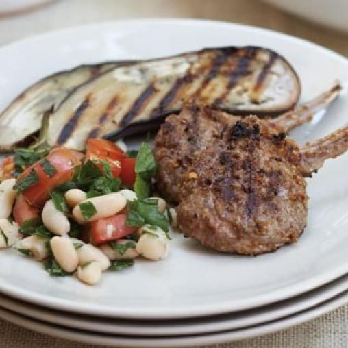 Lamb with zaatar, grilled eggplant and cannellini bean salad