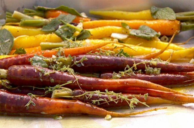Roasted vegetable farro salad- use brown rice instead