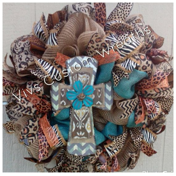 Turquoise Cross Wreath Burlap Cross Wreath by VivsCustomWreaths