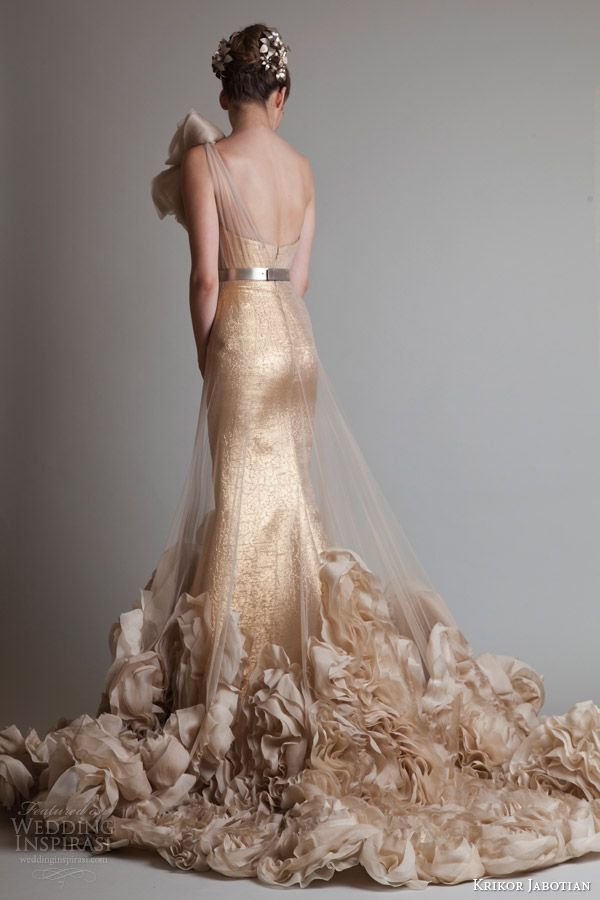 krikor jabotian couture fall 2013 2014 gold one shoulder gown illusion overskirt back