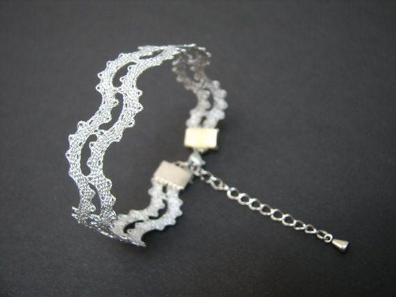 Pulsera de cordón de onda || Pulsera de encaje de verano minimalista | Encaje de bolillos hecho a mano joyería