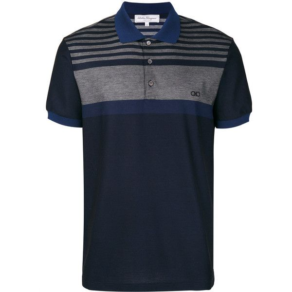 Salvatore Ferragamo button front polo shirt ($310) ❤ liked on Polyvore featuring men's fashion, men's clothing, men's shirts, men's polos, blue, mens embroidered shirts, mens striped shirt, mens short sleeve polo shirts, mens tailored shirts and mens polo collar shirts
