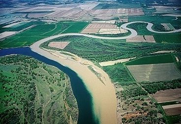 """""""Missouri/Milk Confluence. Milk River comes in from right side, view is to west. Upper Missouri River, Montana, MT  United States."""" [See also http://pinterest.com/pin/175218241723427490/]: Missouri Milk Confluenc"""