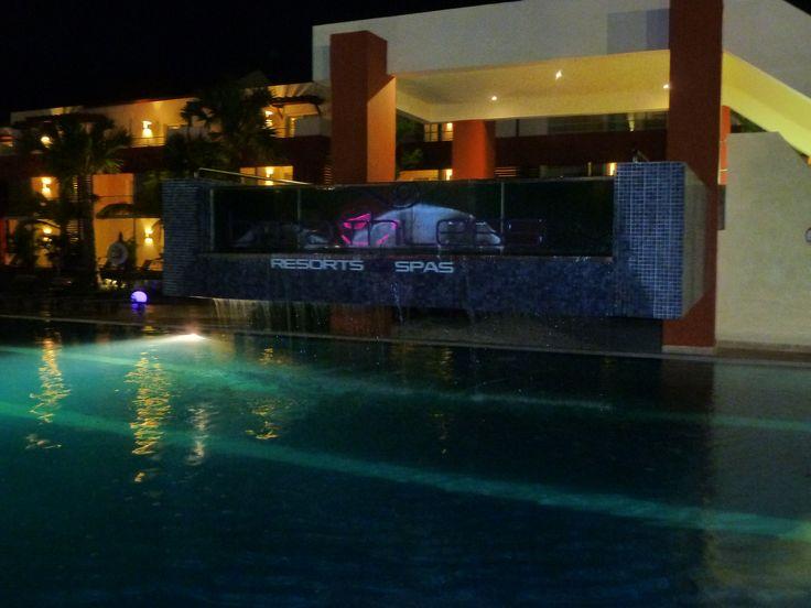 Waterfall at DJ pool at night