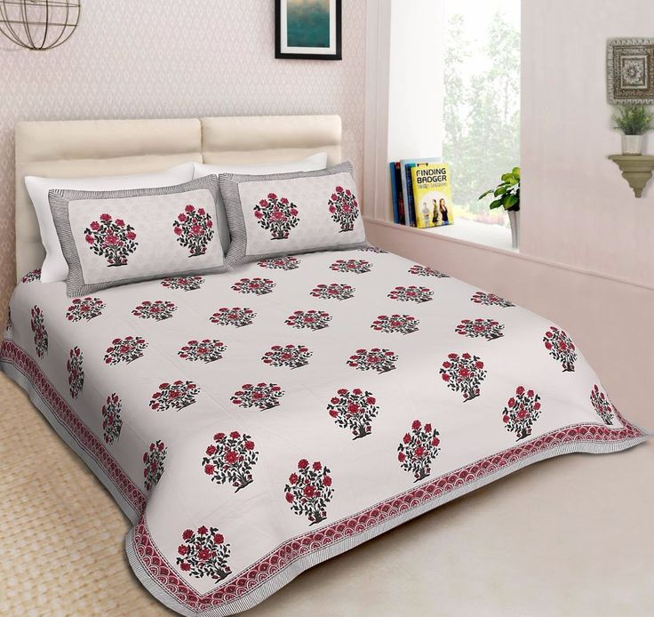 Indian Top Branded Printed Bedspread Floral Bed Cover Sheet With Pillow Covers #Handmade