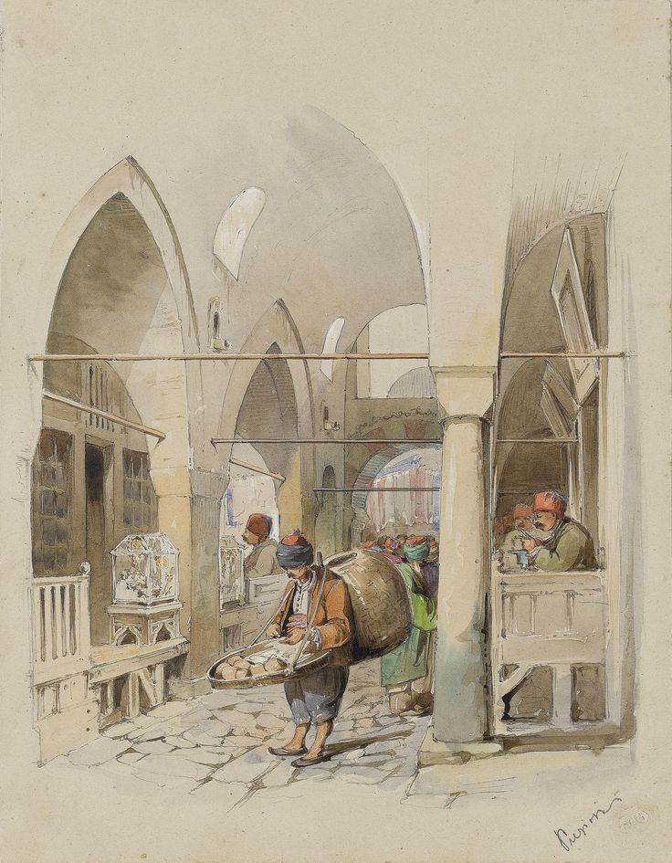 Count Amadeo Preziosi (Maltese, 1816-1882) The yoghurt seller in Kapali Çarsi | par OTTOMAN IMPERIAL ARCHIVES