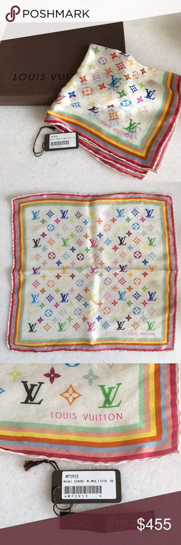Authentic Louis Vuitton Mini Multicolor Silk Scarf This beautiful 100% silk Authentic Scarf from Louis Vuitton. The card measures at 17inches by 16inches. Louis Vuitton Accessories Scarves & Wraps