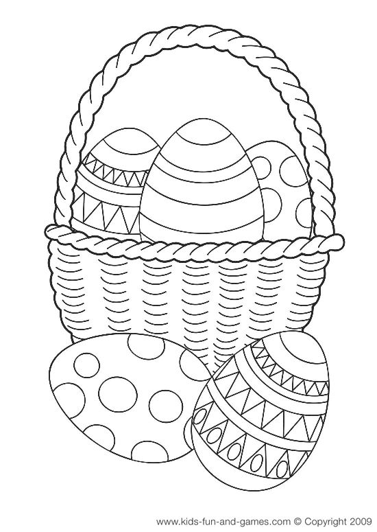 Easter basket coloring page free