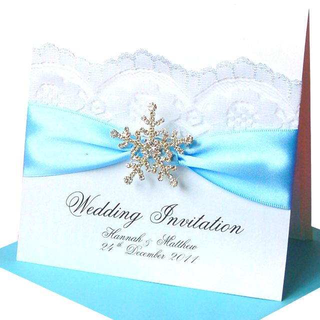 Ice blue wedding themed invitation card