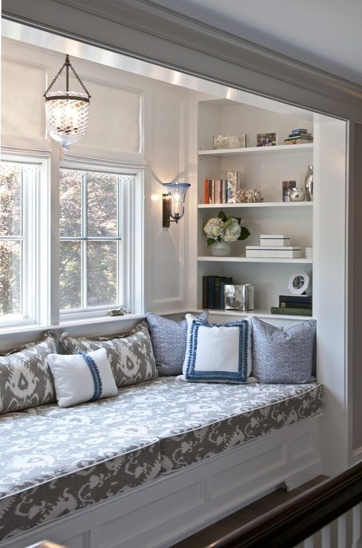 Window seat in Cool Ikat print Grey fabric with white woodwork