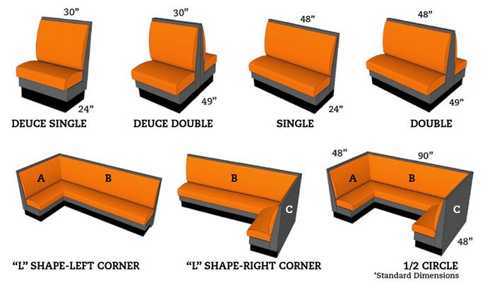 "Booth seating dimensions! (72"" wide for 3 people)"