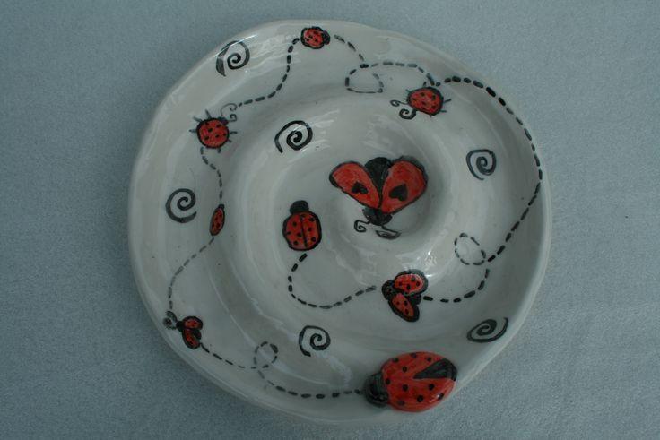 Antipastiera decorazione coccinelle in ceramica | ceramic plate ladybug decor for appetizers