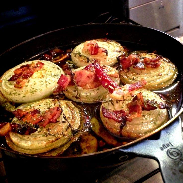 グリルピザプレートで新玉葱とベーコンのアヒージョはメインにも負けない美味しさじゃん!o(^_^)o