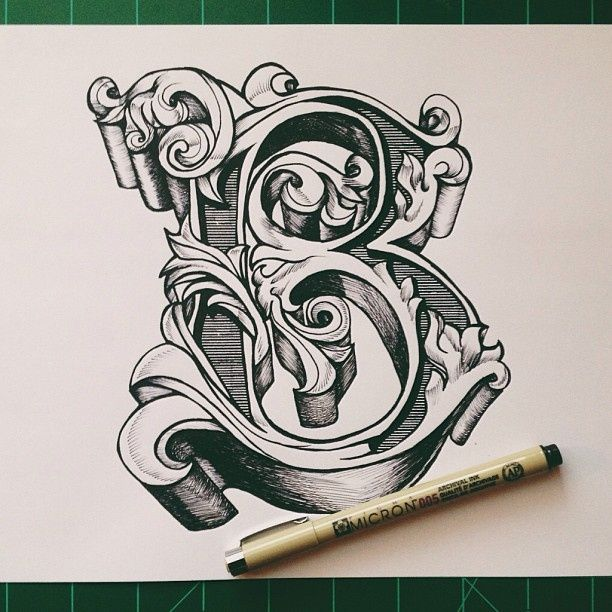 Tattoo Designs Letter B: Typeverything.com, By David Salinas, Ornate Letter B