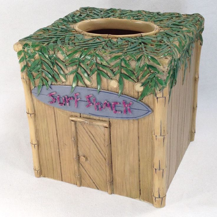 Surf Shack Tiki Hut Tissue Box Holder Surfing Beach Tropical Bamboo Palm Leaves #Valarr