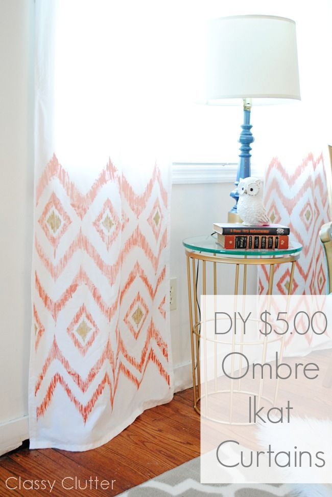 Super easy and beautiful DIY $5 curtainsDiy Ideas, Diy Ombre Curtains, Diy Crafts, Ombre Ikat, Classyclutter Nets, Diy Curtains, Classy Clutter, Easy Diy Curtians, Ikat Curtains Bedroom