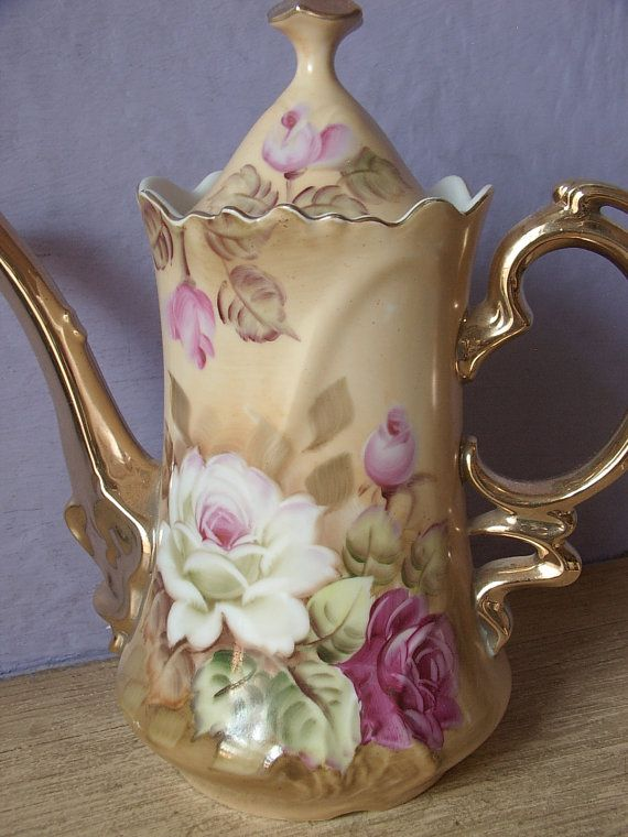 Antique Lefton china brown heritage coffee pot, Hand painted roses teapot, Japanese teapot, porcelain teapot, antique coffee pot,