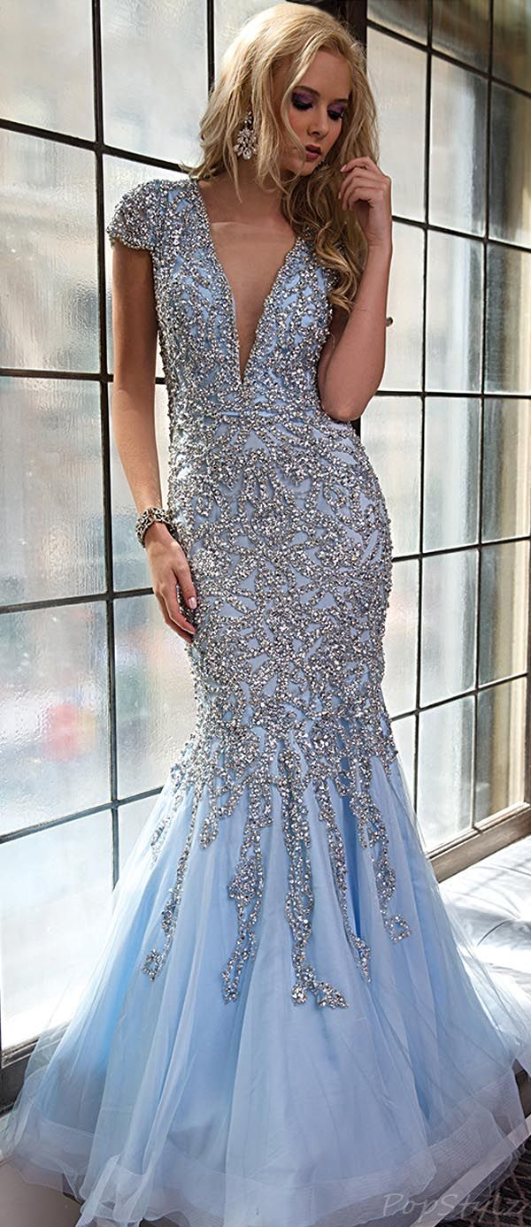 Jovani Ice Blue Long Evening Gown - Absolutely Stunning !
