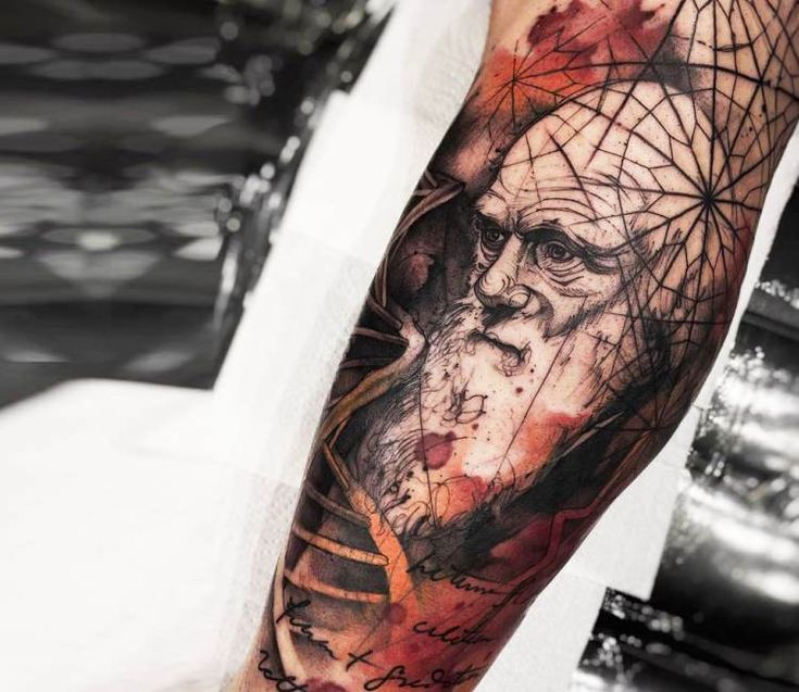 Charles Darwin tattoo by Felipe Rodrigues