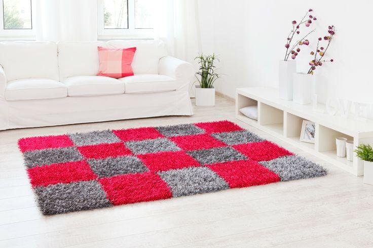 schönes Karomuster in pink und grau - Teppich Al Mano