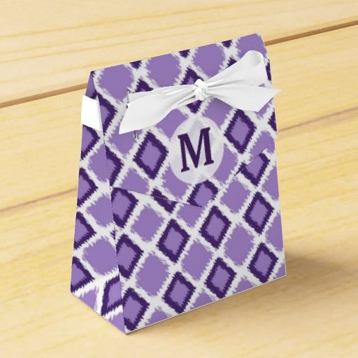 Purple Diamond Ikat Pattern:Initial #Monogram favor boxes for special #wedding #favors