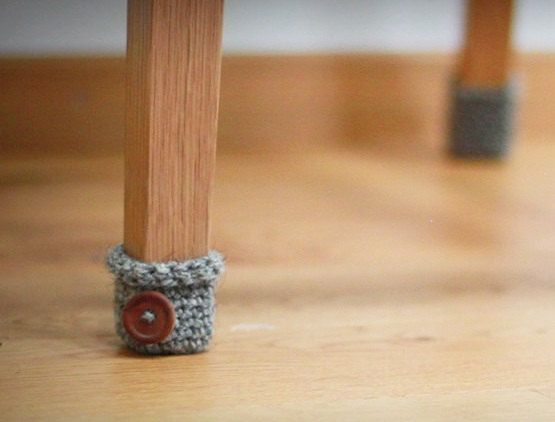 Crochet Chair leg warmers - cute idea for bottom of chairs to keep them from scraping the floor