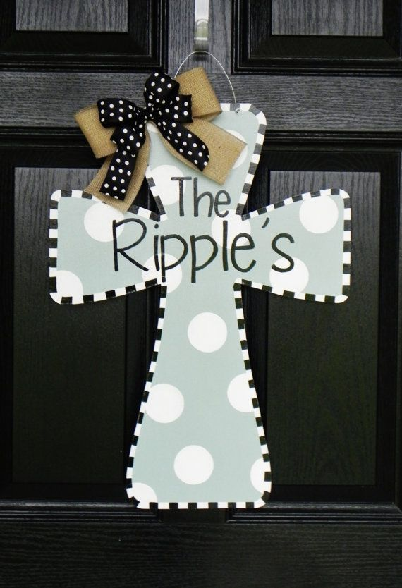 Personalized Wooden Cross Door Hanger