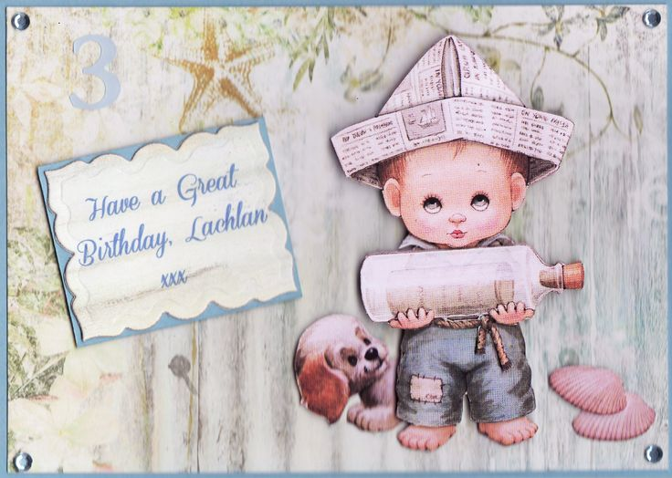 3D Boy with message in a bottle 'Have a Great Birthday, Lachlan xxx' Card  (by Tassie Scrapangel)