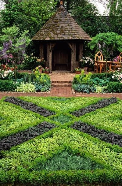 Herb knot garden with gazebo. Gorgeous.