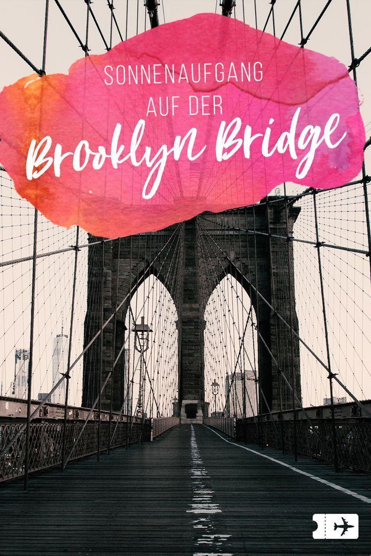 New York: Sonnenaufgang auf der Brooklyn Bridge