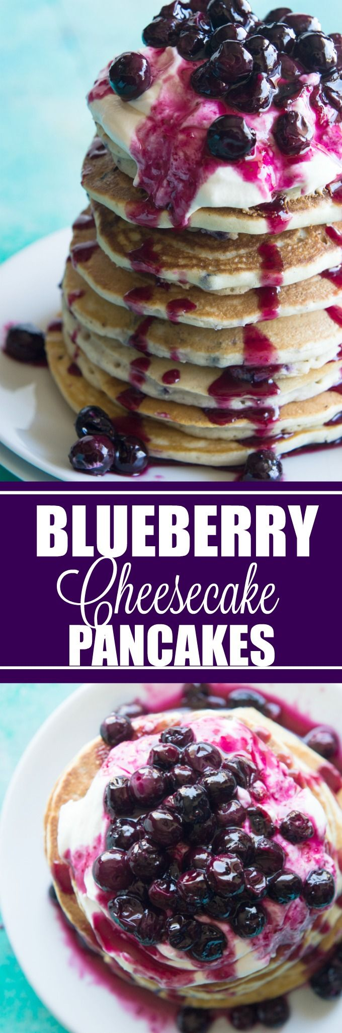 Blueberry Cheesecake Pancakes!  Soft pancakes bursting with juicy blueberries.  Topped with a fluffy cheesecake topping and a homemade blueberry sauce.  You will want to start everyday with this breakfast!  Life just doesn't get any better.