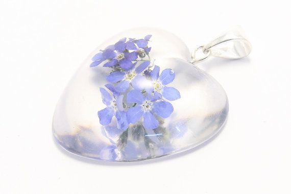 Heart shaped flower pendant with forget-me-nots on by pulchrapl