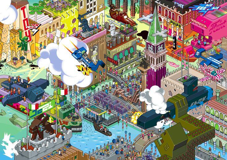 Venise (see more on http://www.tranchesdunet.com/des-villes-entieres-en-pixel-art/ )