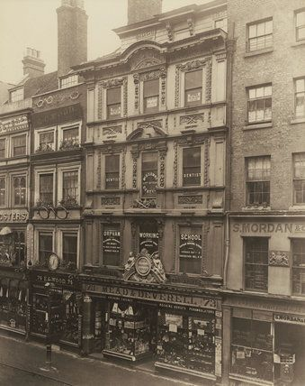 No. 73, Cheapside, 1883. This photograph was commissioned by the Society for Photographing Relics of Old London to form part of a permanent visual record of historic buildings threatened with alteration or possible demolition in the 1870s and 80s. This house was built in 1668-9 to the designs of Sir Christopher Wren and was occupied by the then Mayor of London, Sir William Turner. It was demolished in 1929.