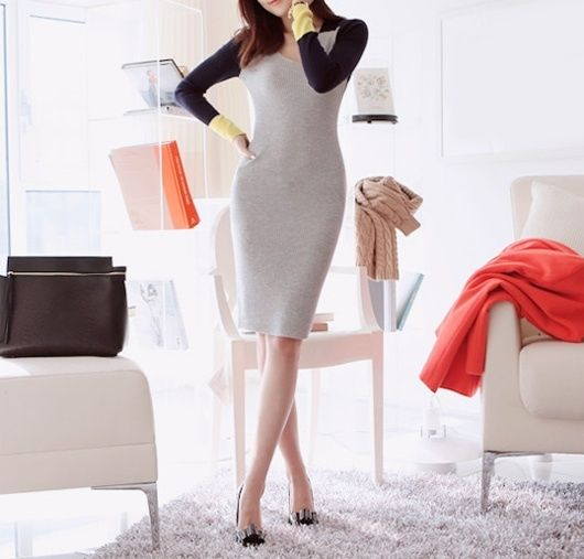 Colorblock long sleeve dress / The Clothing Bar